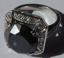 Foto 5 Mega seltene 14k gold & 7.7ct schwarzem Zentrum Diamant-Ring. Zertifikat