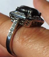 Foto 8 Mega seltene 14k gold & 7.7ct schwarzem Zentrum Diamant-Ring. Zertifikat