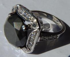 Foto 9 Mega seltene 14k gold & 7.7ct schwarzem Zentrum Diamant-Ring. Zertifikat