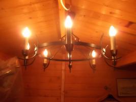 Foto 2 Messing/Stahl-Lampen - 8-armig