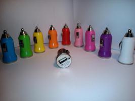 Mini Bullet Car Charger USB Autoladegerät (200 Stk.) (10 versch. Farben)