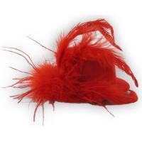 Mini Hut mit Federn - Rot