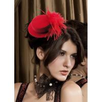 Foto 2 Mini Hut mit Federn - Rot