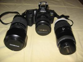Foto 4 Minolta MAXXUM 550 SI   3 Super- Objektive (1x AF 28-80/1x AF 75-300/1x 100-300)   Tasche