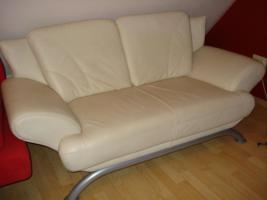 Moderne 2 Sitzer Sofa, Leder, beige