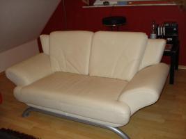 Foto 2 Moderne 2 Sitzer Sofa, Leder, beige