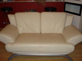 Foto 4 Moderne 2 Sitzer Sofa, Leder, beige