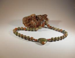 Modeschmuck - Verdit-Halskette mit Herz-Anhänger , Unikat