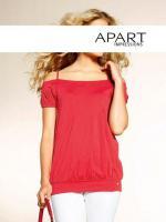 Modischer Shirt mit Raffungen rot - Gr. 32 - OVP