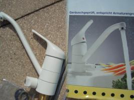 Foto 2 NEU Spülarmatur, Weiß, Spültischarmatur, Armatur, Küchenarmatur, Einhebelmischer, Wasserhahn,