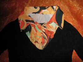 Foto 2 NEU*Ausgefallen, flippig Langarm * Longsleeve * Vintage * T- Shirt mit Blusenkragen * Größe 36- 38/ S, schwarz- bunt *