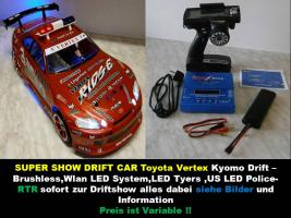 NEUES ELEKTRO Super Show Drift Car RTR BRUSHLESS 1/10er 4WD 2,4GHz Fernst.Lipo Akku, Lipo Lader -Wlan LED System