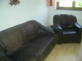Nappaledersofa mit Sessel