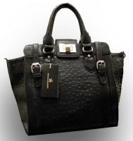 Neue David Jones Handtasche Designer Bag dunkelblau Straußen-Prägung