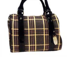 Neue Handtasche von David Jones Markentasche Damentasche Bag karierte Tasche lila vieolett