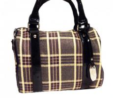 Foto 3 Neue Handtasche von David Jones Markentasche Damentasche Bag karierte Tasche lila vieolett