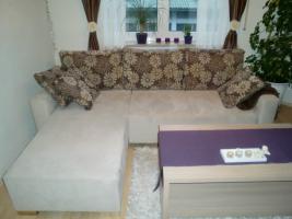Neuwertige microfaser Rundeck Couch