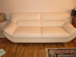 Neuwertige weiße Ledercouch/Sofa/Möbel/Garnitur/Sessel/Sitzmöbel/Polstermöbel
