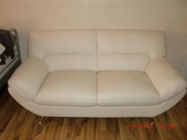 Foto 4 Neuwertige weiße Ledercouch/Sofa/Möbel/Garnitur/Sessel/Sitzmöbel/Polstermöbel
