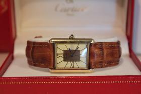 Nur was für Kenner! Original Cartier Tank Argent mit seltenem Ziffernblatt mit Papieren und Box!
