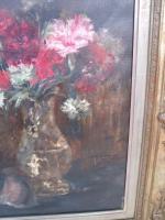 Foto 2 Oelbild von Gustav Schmidt Rosa Nelken in Kristallvase