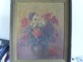 Ölbild auf Holz , Stilleben , Blumenvase