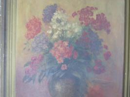 Foto 2 Ölbild auf Holz , Stilleben , Blumenvase