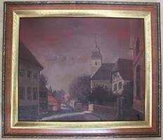 Ölgemälde von Ettlingenweier, gemalt 1935 v.Alfons Mühl
