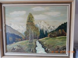 Ölgemälde Flußlandschaft in den Alpen