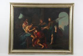 Ölgemälde Personen mit Erzengel Spätbarock um 1780