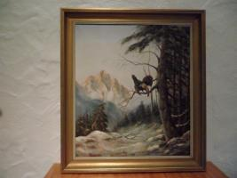 Ölgemälde mit Rahmen von E.Hofer Motiv Auerhahn