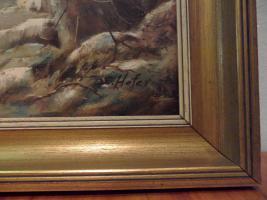 Foto 2 Ölgemälde mit Rahmen von E.Hofer Motiv Auerhahn