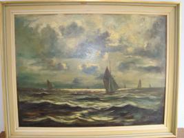 Ölgemälde ''Schiffe auf bewegter See'' von G. Volkmann