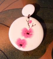 Ohrring Clip rund rosa Blüte Bijou Brigitte DRINGEND!!!