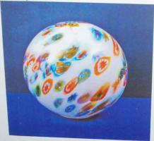 Opal Glaskugel mit Farbdekor Neu&OVP