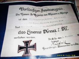 Orginal Kopieen Verleihungsurkunde Eiserne Kreuz/ + Vorläufiges Besitzzeugnis
