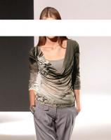 PATRIZIA DINI - Designer-Shirt schilfgrau-oliv Gr. 36 - OVP - NEU