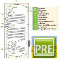 PRE Solarspeicher 200 Liter emailliert, 2 Wärmetauscher und mit Isolierung. Für Heizung, Heizkessel, Solar und Trinkwasser. prehalle