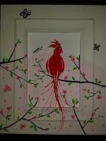Paradisvogel-Bild auf Holz