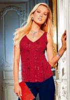 Perlen-Georgette-Top Rot - TOGETHER - Größe 34 - Neu & OVP