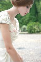 Perlenbesetztes Empire Taille bodenlanges Brautkleid - Mode-top