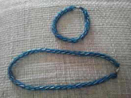 Perlenkette mit Armband blau-silber