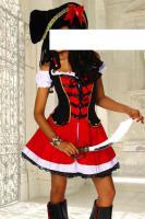 Piraten-Kostüm rot/schwarz/weiß Gr. S-M - OVP - NEU