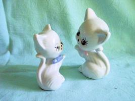 Foto 3 Porzellan Figuren Katzen 2er Set, Tiere, Setzkastenfiguren