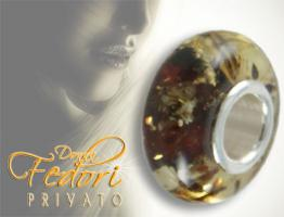 Privato Bead Amber Wood 925 Sterling Silber, Bernstein