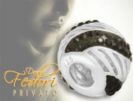 Privato Bead Black Crystal Wave 925 Sterling Silber, Swarovski Kristalle