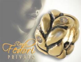 Privato Bead Codino 925 Sterling Silber 18k vergoldet, Zirkonia