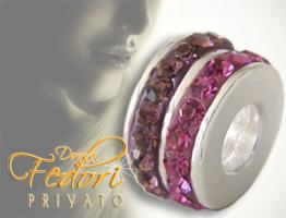 Privato Bead Double Pink Glamour 925 Sterling Silber, Swarovski Kristalle