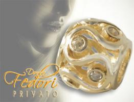 Privato Bead Golden River 925 Sterling Silber 18k vergoldet, Zirkonia