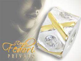 Privato Bead Golden X 925 Sterling Silber, Zirkonia